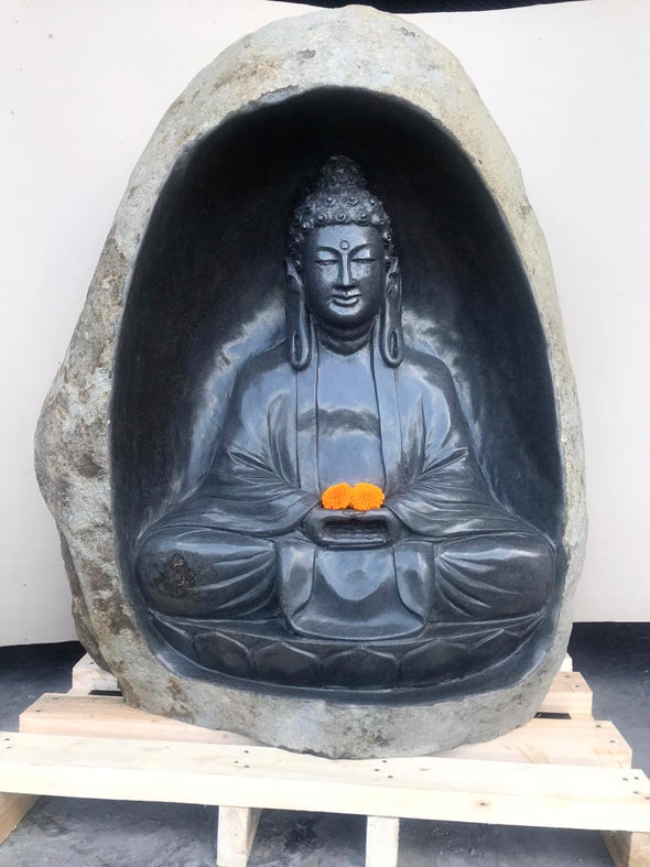 Buy Buddha Statue | Hand Carved Stone 1.4 Metres | 140cm | Stone Base (739)