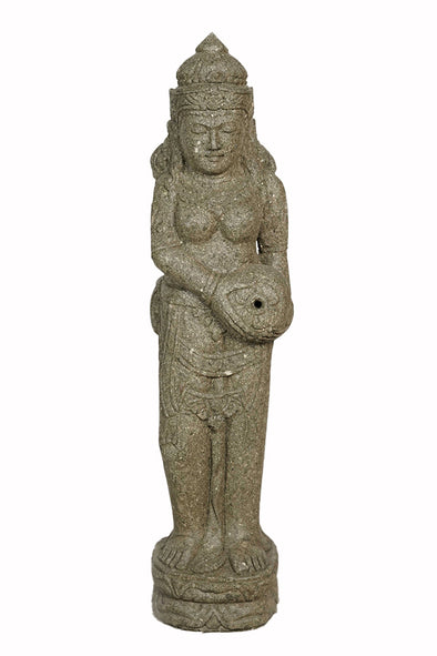 Buy Bali Statue With Water Feature | Hand Carved Stone | 100cm | Stone Base (805)