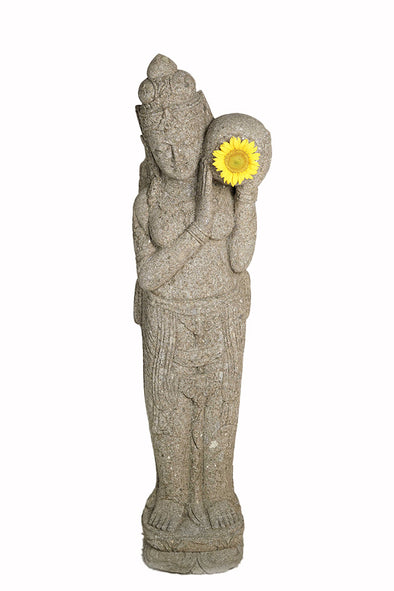 Buy Bali Statue With Water Feature | Hand Carved Stone | 152cm | Stone Base (810)
