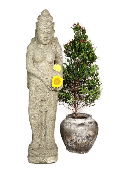 Buy Bali Statue With Water Feature | Hand Carved Stone | 152cm | Stone Base (811)