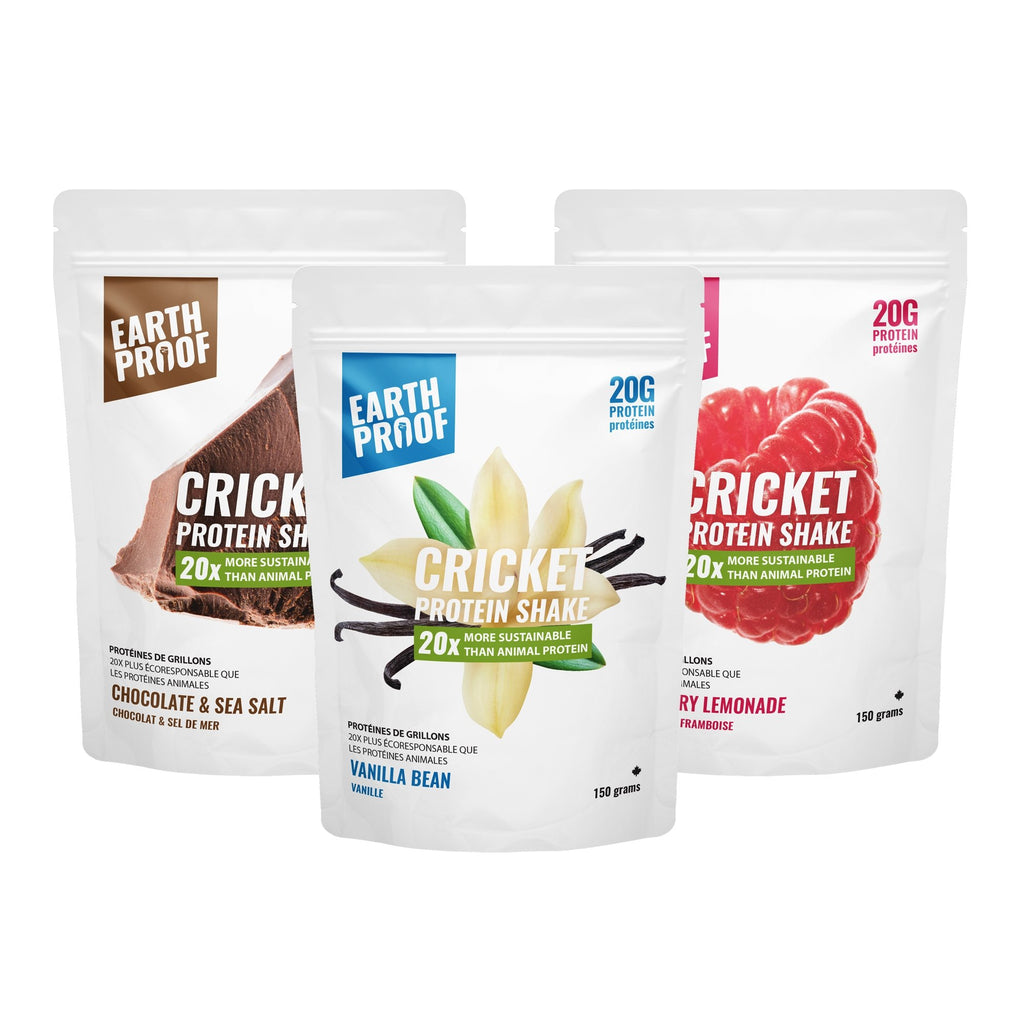Flavoured Cricket Protein Powder Trio 3 x 150g - Earthproof Protein