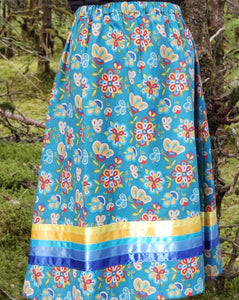 Teal Calico Beads Dance Skirt