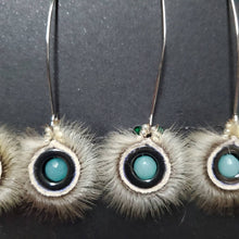 Load image into Gallery viewer, Seal fur hematite earrings