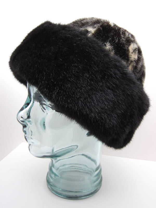 Seal Skin Cap Hat with Black Sea Otter
