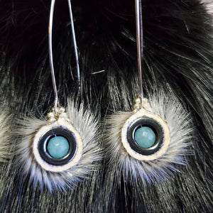 Seal fur hematite earrings