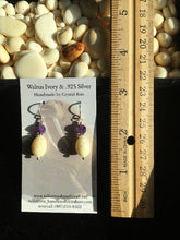 Load image into Gallery viewer, Walrus Ivory & Amethyst Earrings