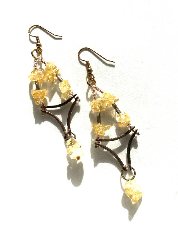 Citrine and Copper Chandelier Earrings