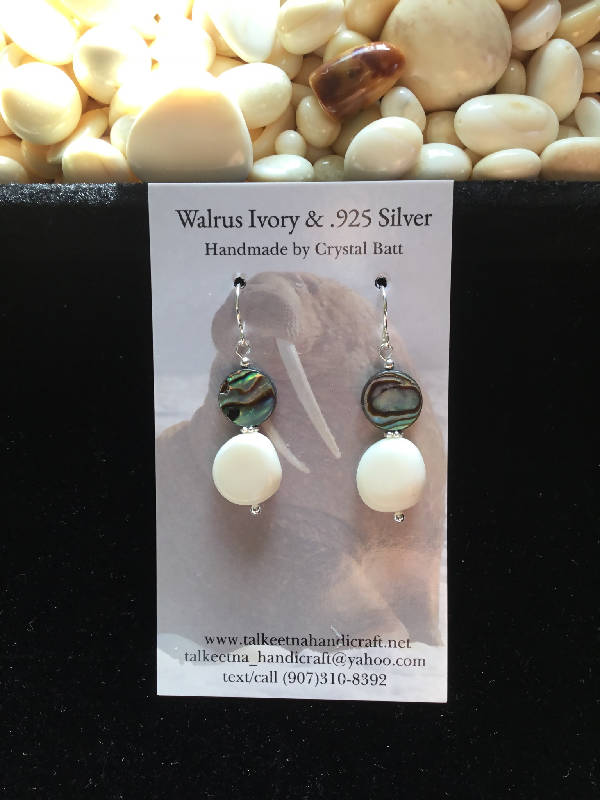 Walrus Ivory & Abalone Earrings