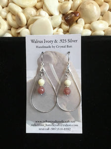 Walrus Ivory & Muscovite Hoop Earrings