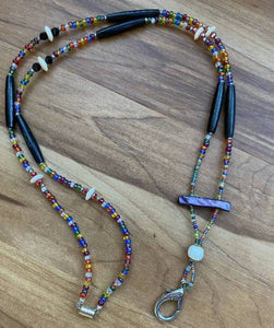 Beaded Lanyard with Walrus Ivory, Black Bison Bead Bones and Mother of Pearl.