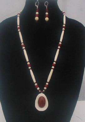 Ivory and bone necklace with red jasper