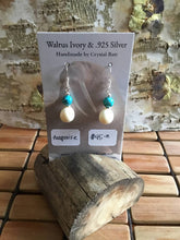 Load image into Gallery viewer, Walrus Ivory & Turquoise Earrings