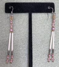 Load image into Gallery viewer, Rose colored Porcupine quills w/Swarovski pearls & crystals & 24k gold plated beads