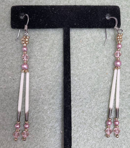 Rose colored Porcupine quills w/Swarovski pearls & crystals & 24k gold plated beads