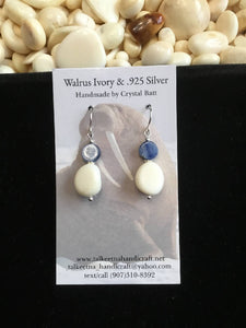 Walrus Ivory & Kyanite Earrings