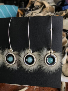Long hook seal fur hematite earrings