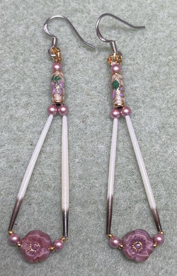 Porcupine quill earrings w/cloisonné & glass flower beads w/ Swarovski pearls & 24k sz 15 & 11 beads