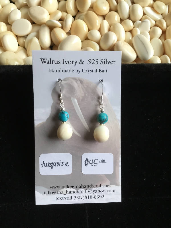 Walrus Ivory & Turquoise Earrings