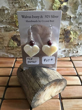 Load image into Gallery viewer, Walrus Ivory & Red Garnet Earrings