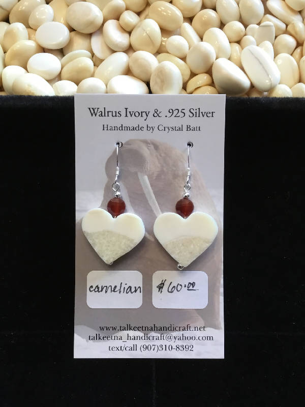 Walrus Ivory & Carnelian Earrings