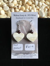 Load image into Gallery viewer, Walrus Ivory & Garnet Earrings