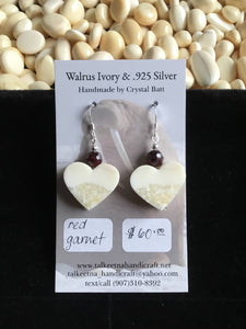 Walrus Ivory & Garnet Earrings