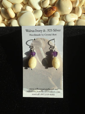 Walrus Ivory & Amethyst Earrings
