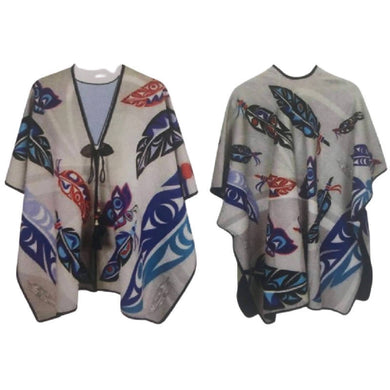 Butterfly & Feather Fashion Wrap/Poncho