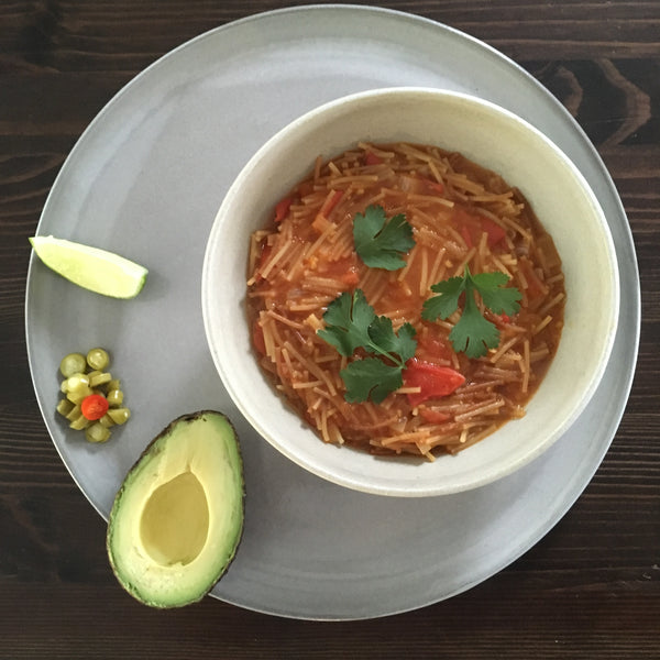 Fideo Soup with Red Chili Lime Sauce