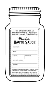 Canning Class Gift Certificate