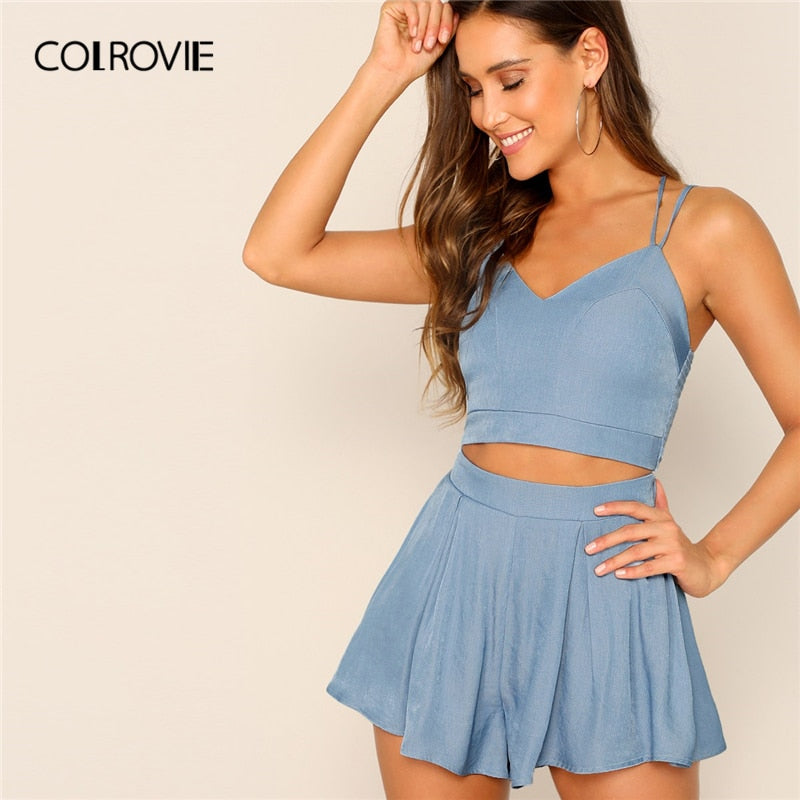 521a0c363034 COLROVIE Blue V Neck Shirred Zip Back Strappy Top And Culottes Shorts Boho Women  Suit 2019