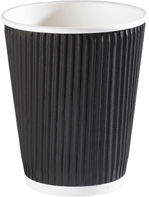 10oz Squat Black Ripple Triple Layer Paper Cups