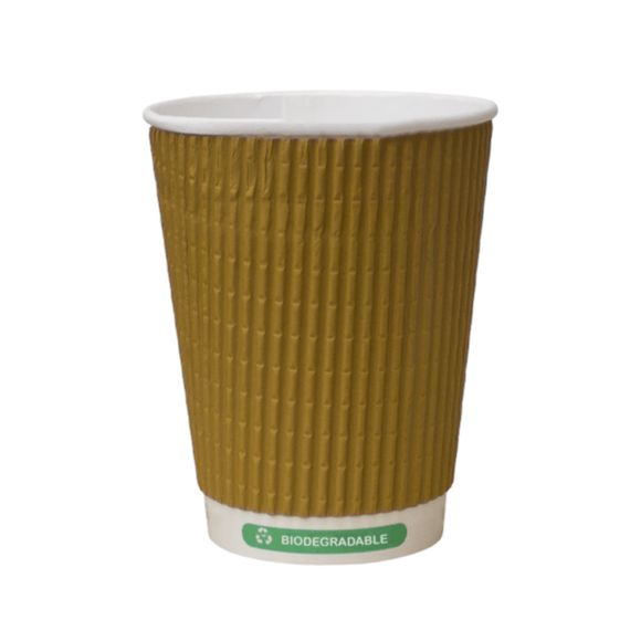 8oz Biodegradable & Compostable Kraft Ripple Triple Wall Paper Cups