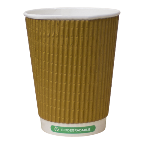 12oz Biodegradable & Compostable Kraft Ripple Triple Wall Paper Cups