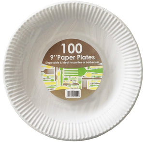 "9"" Disposable Paper Plates (100)"