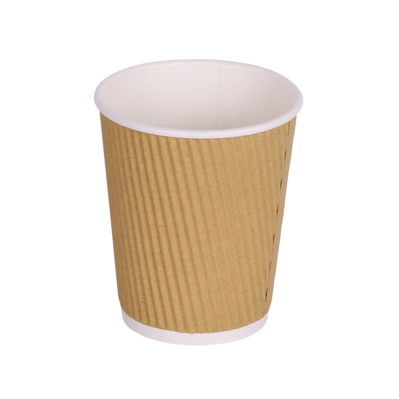 12oz Brown Kraft Ripple Triple Layer Paper Cups