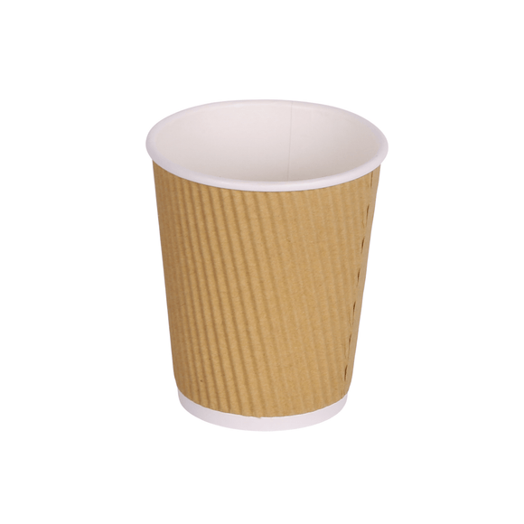 8oz Brown Kraft Ripple Triple Layer Paper Cups
