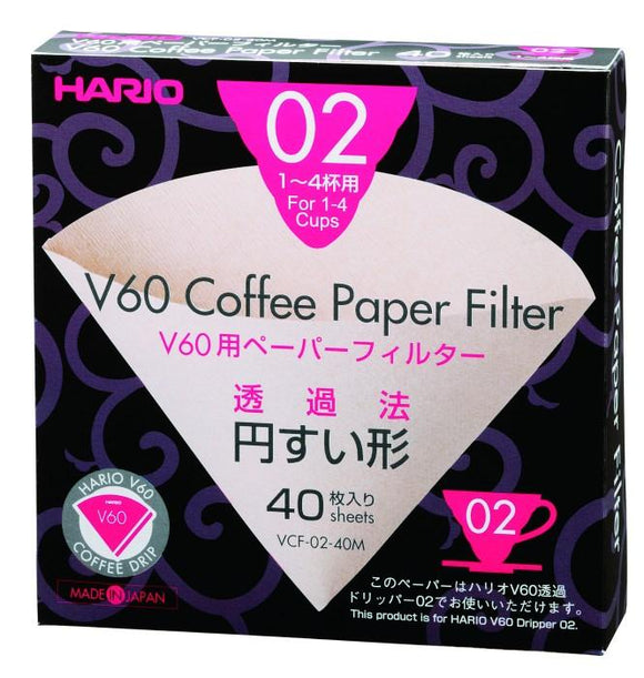 Hario V60 02 Dripper Unbleached Filter Paper Sheets (40 Per Pack)