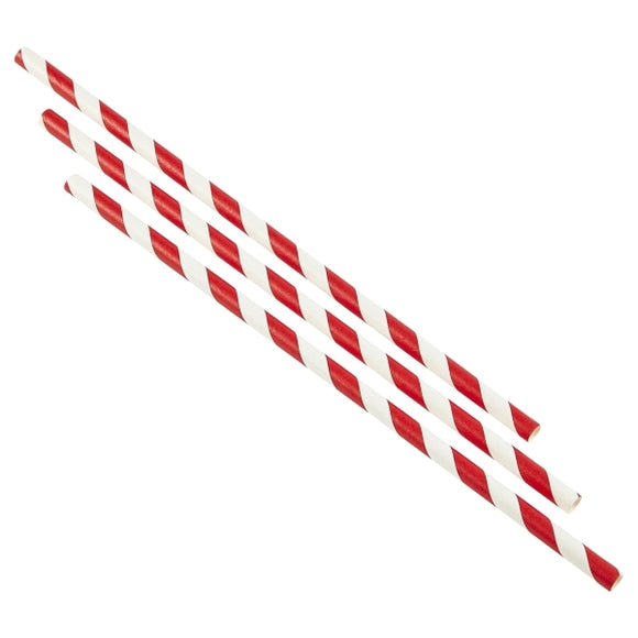 Red & White Stripe Biodegradable Paper Straws (Pack of 250)