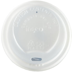 8oz White Biodegradable & Compostable Domed Sip-Thru Lids