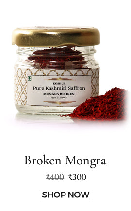 100% pure and certified Mogra saffron strands in a broken form.