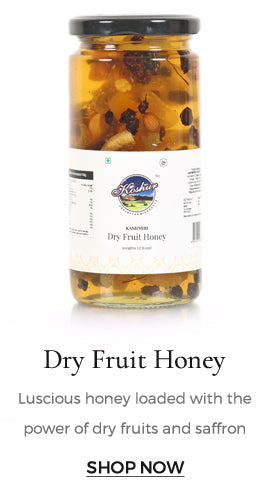 Luscious acacia honey is bestowed with fresh dry fruits and a few saffron strands