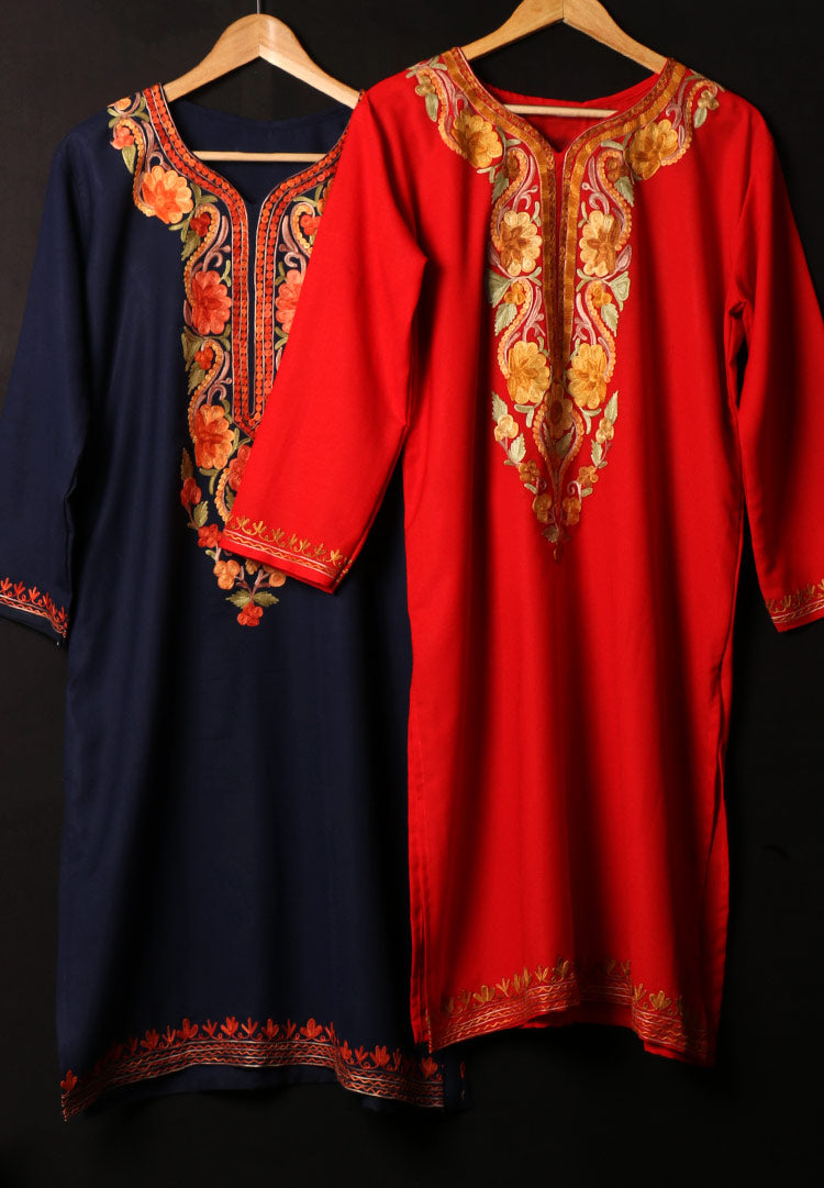 Ethnic tops and kurtis in kashmiri embroideries