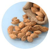 Soft shelled almonds which are easy to break
