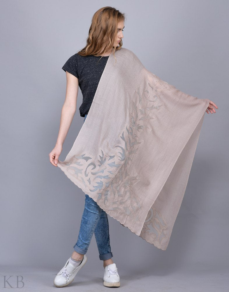 Natural Laced Stole - Kashmir Box