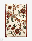 White Floral Patterned Handmade Rug