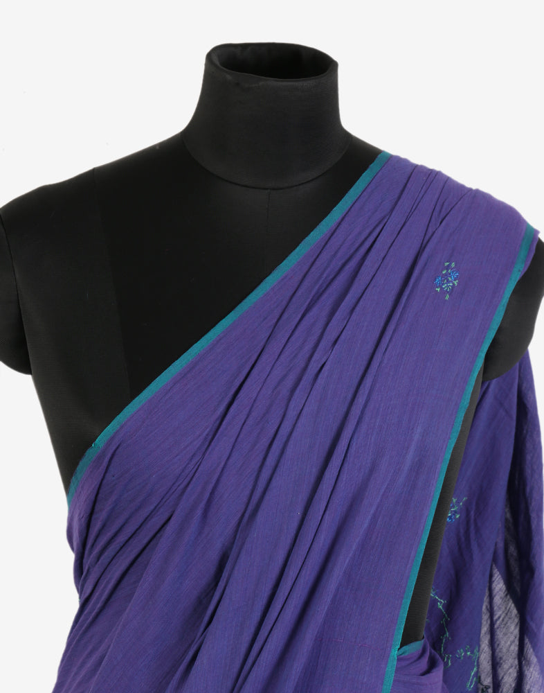 Aegean Blue Sozni Embroidered Khadi Cotton Saree