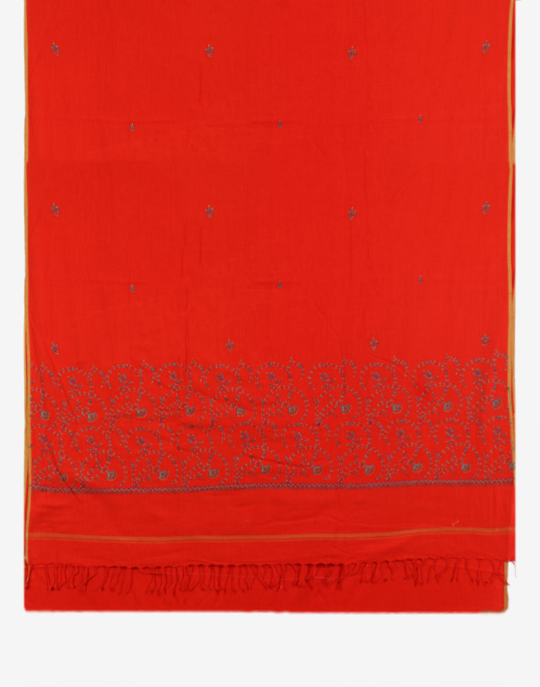 Candy Red Sozni Embroidered Khadi Cotton Saree