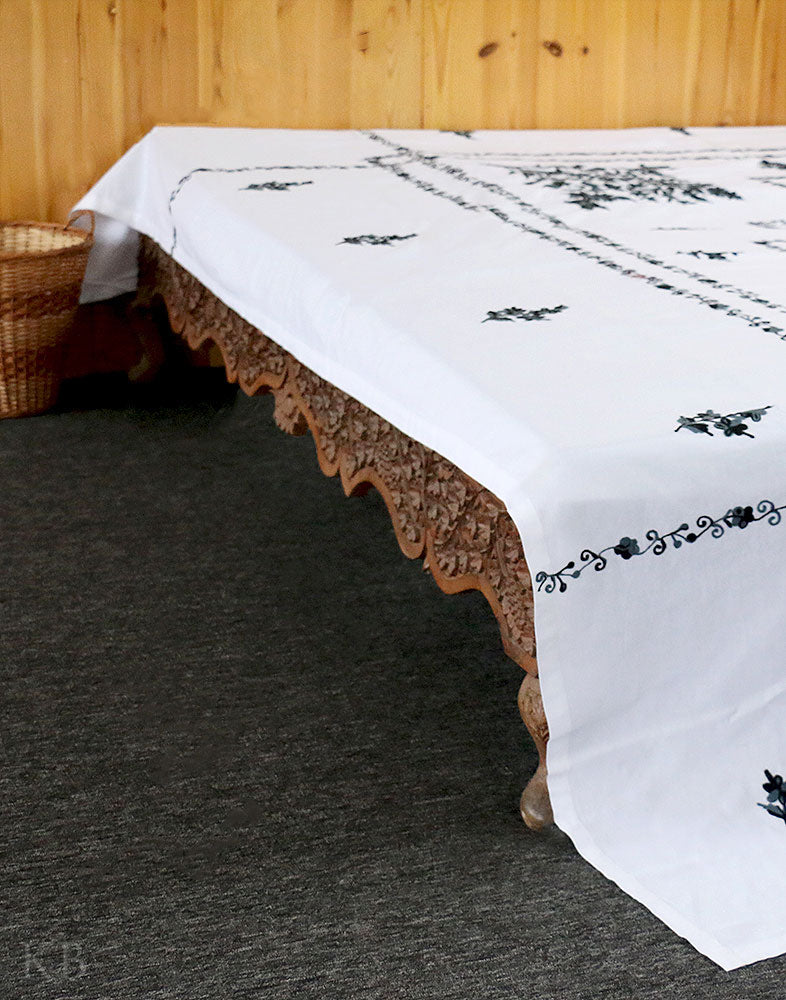 Two Shaded Aari Embroidery Cotton Bed Spread