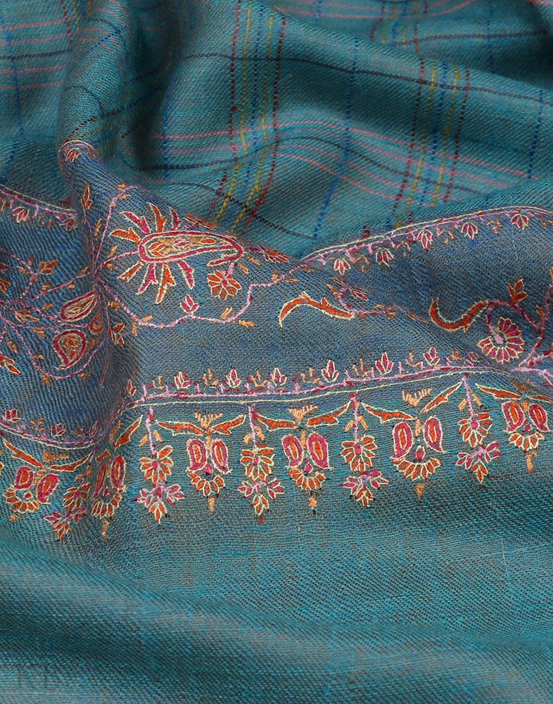 Saphire Blue Hand Embroidered Cashmere Pashmina Shawl